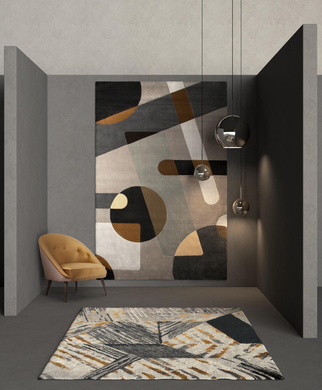 Grey geometric entryway by Rug'Society